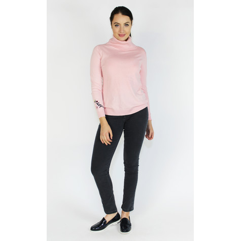 YOU YOU Light Pink Turtle Neck Embroidery Sleeve Knit