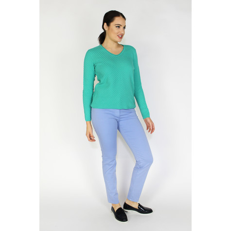 Olsen SWEATER WITH ROUNDED V-NECK - TROPIC GREEN
