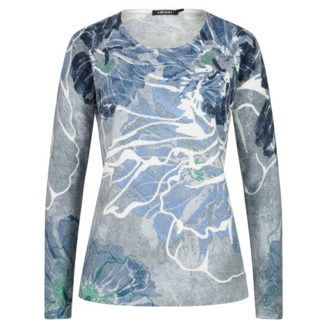 Olsen SWEATER WITH FLORAL MOTIF - BLUE WATER