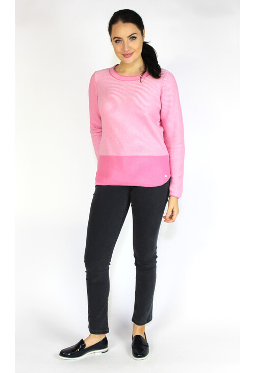 Olsen SWEATER WITH DISCREET BLOCK STRIPE - CORAL