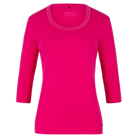 Olsen T-SHIRT WITH DECORATION ON THE NECKLINE - PARADISE PINK