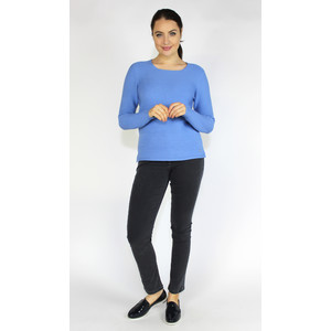Olsen SWEATER WITH ANGULAR NECKLINE - BLUE WATER