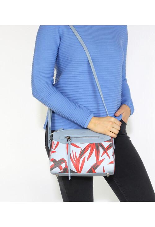 Dave Jones Light Blue Floral Print Handbag