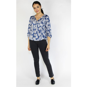 SophieB Blue Pattern Print Zip Neckline Top