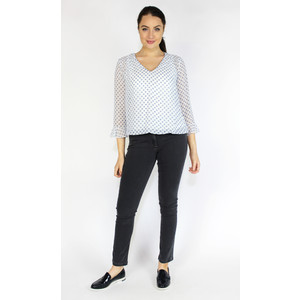 SophieB White & Blue Dot Pattern V-Neck Top