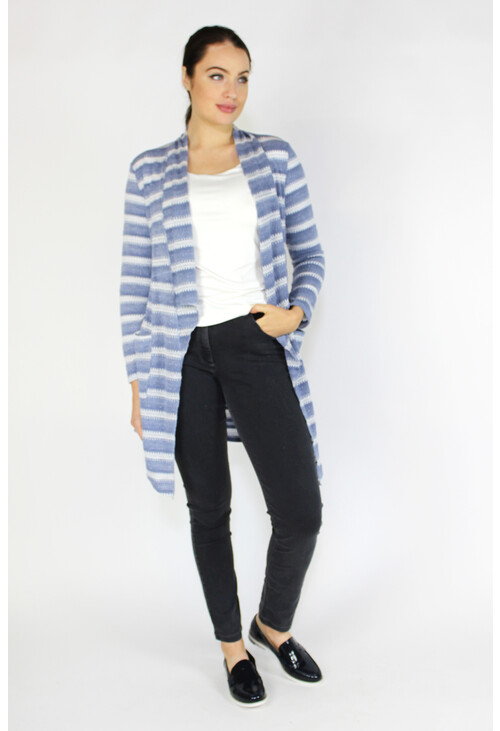 Sophie B Blue & White Pattern Open Knit