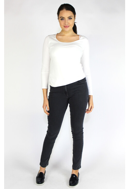 Sophie B Cream Round Neck Long Sleeve Top