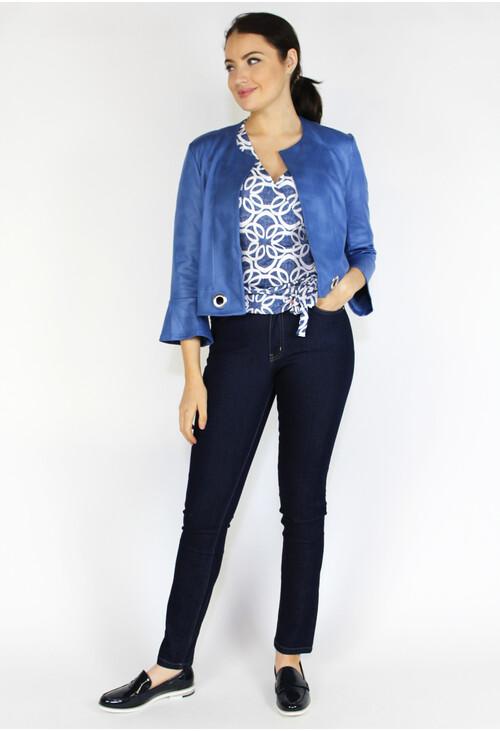 Sophie B Blue Short Crop Buckle Detail Jacket