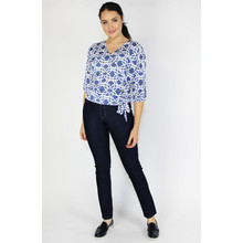 SophieB Denim & White Pattern Sweetheart Blouse