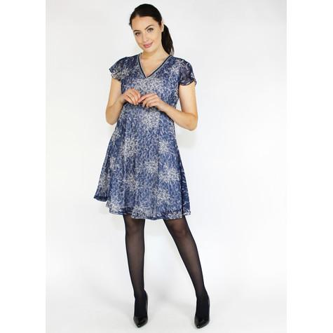 SophieB Blue Mesh V-Neck Crop Sleeve Dress