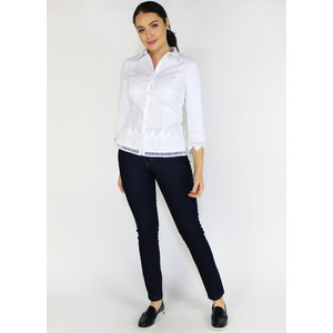 Tinta Style White Button Up Lace Trim Shirt