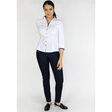 Tinta Style White Button Up Navy Trim Blouse