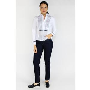 Tinta Style White & Navy Pattern Lace Trim Blouse