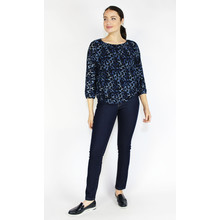 Zapara Dark Blue Animal Print Sweetheart Blouse