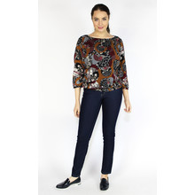 Zapara Bordeaux & Orange Sweetheart Blouse