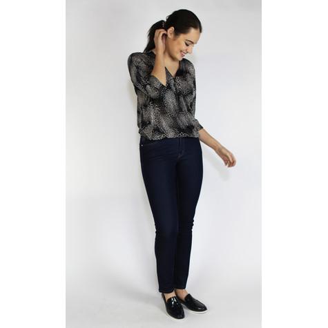 SophieB Black & Cream Mini Square Pattern Blouse