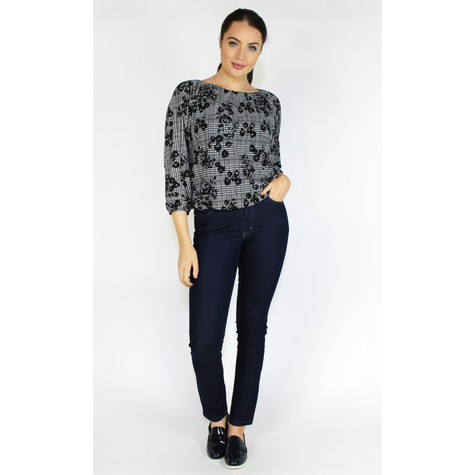 Zapara Black & Grey Check Sweetheart Blouse