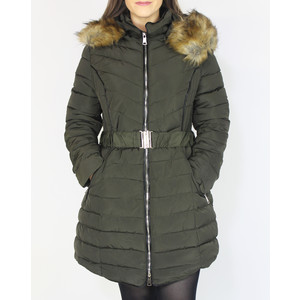 Kelya Khaki Fuax Fur Hooded Winter Coat