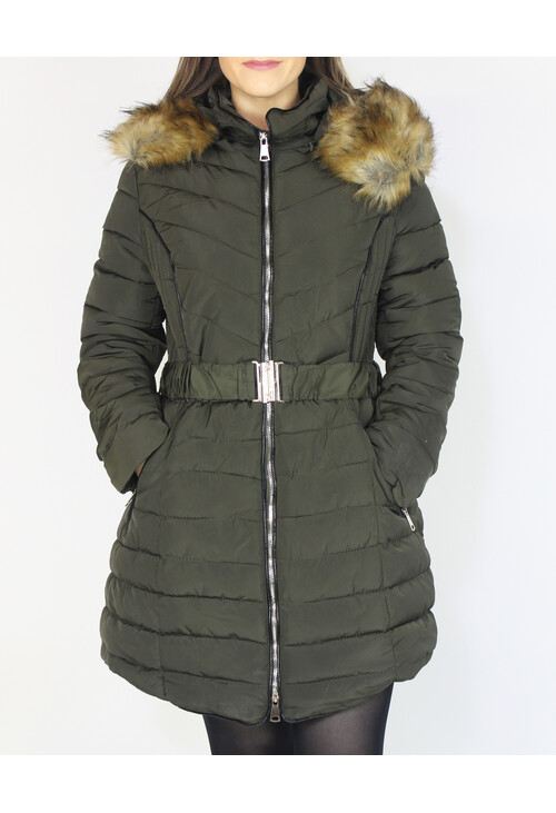 Pamela Scott Khaki Fuax Fur Hooded Winter Coat