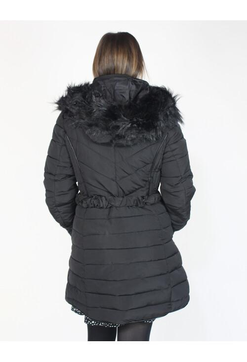 Pamela Scott Black Faux Fur Hooded Winter Coat