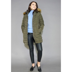 Kelya Khaki Fuax Fur Hooded Winter Coat