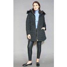 Kelya Black Faux Fur Hooded Winter Coat