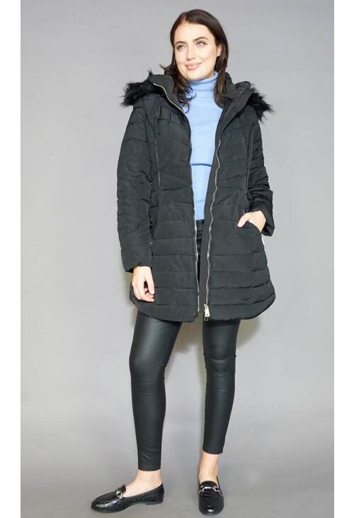 Kelya Black Faux Fur Hooded Winter Coat
