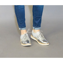 Sixth Sen Grey & Silver Lace Brogues