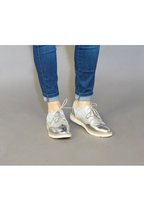 Pamela Scott Grey & Silver Lace Brogues