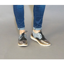 Sixth Sen Black, Grey & Silver Lace Brogues