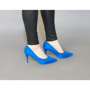 Pamela Scott Blue Suede Heels