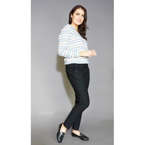 Twist Grey & Cream Stripe V-Neck Knit