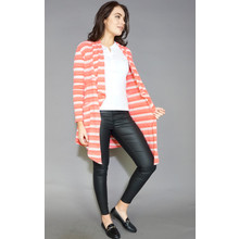 SophieB Coral & Cream Stripe Metallic Shimmer Knit