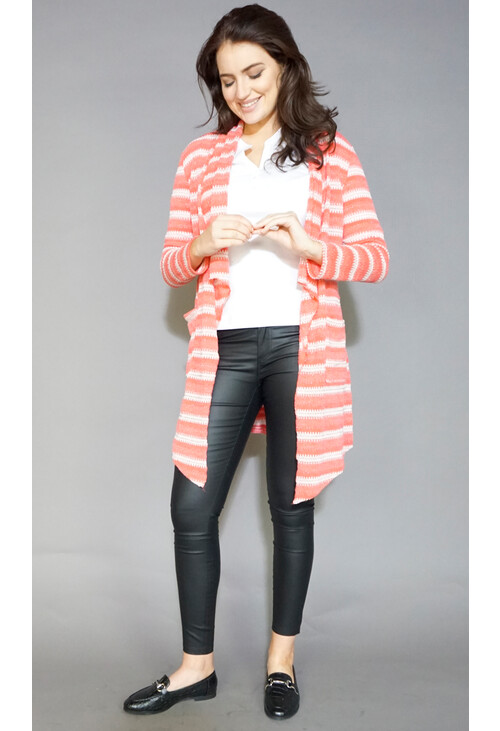 Sophie B Coral & Cream Stripe Metallic Shimmer Knit