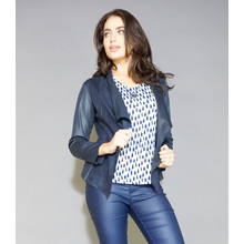 SophieB Navy Crop Faux Leather Jacket