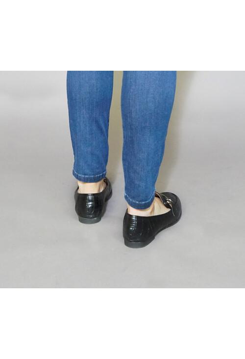 Pamela Scott Black Snake Effect Slip On Loafers