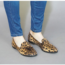Pamela Scott Camel Leopard Print Slip On Loafer