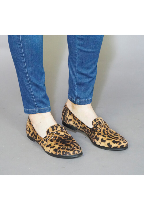 Pamela Scott Camel Leopard Print Slip On Loafer