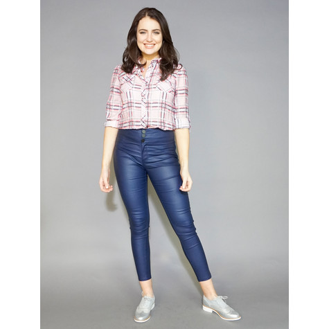 Twist Pink Crinkle Effect Check Shirt