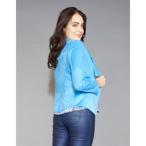SophieB Blue Crop Suede Effect Jacket