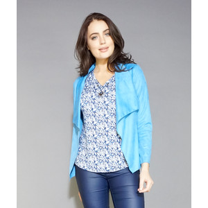 SophieB Blue Crop Suede Effect Jacket