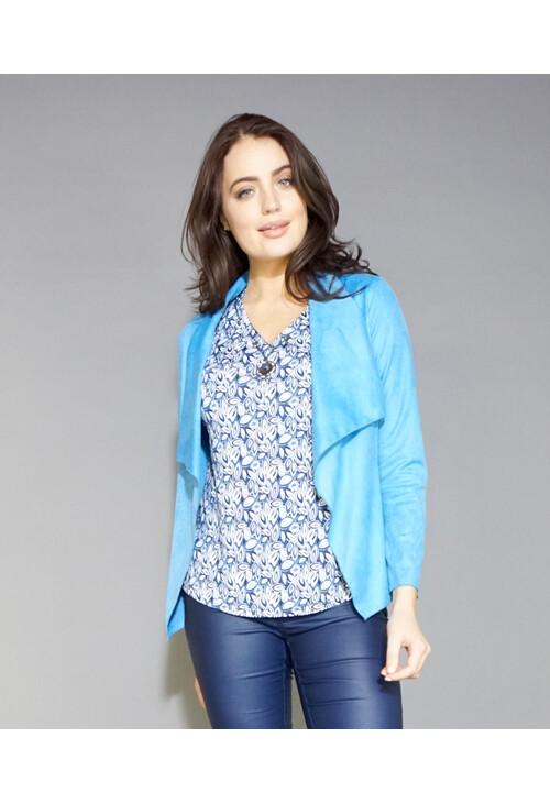 Sophie B Blue Crop Suede Effect Jacket