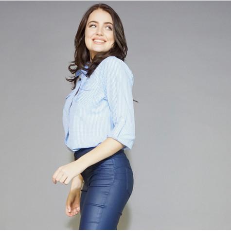 Twist Blue Check Pattern Shirt