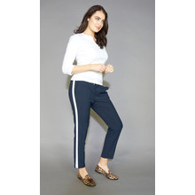 Zapara Navy White Stripe Jogger Trousers