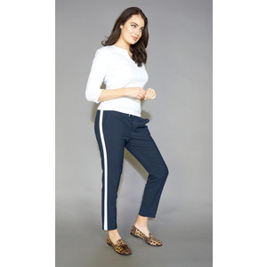 Zapara Navy White Stripe Jogger Trousers