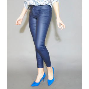 Zapara Navy 3 Button Coated Skinny Trousers