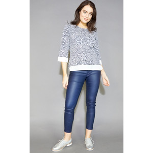 Twist Navy Ethnic Pattern Top