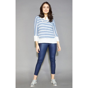 SophieB Blue Stripe 2 in 1 Necklace Detail Top