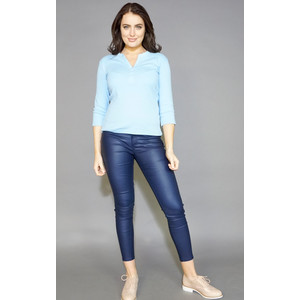 Twist Soft Blue Henley Diamante Detail Top