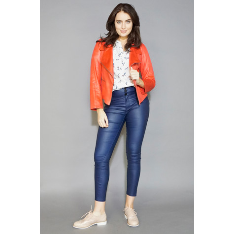 SophieB Coral Denim Zip Detail Crop Jacket